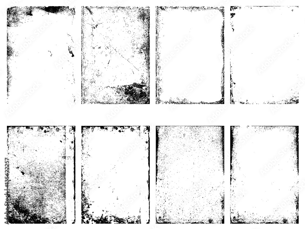 Fototapeta Set of the vector grunge textures isolated on white background.