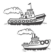 Set Of Tugboat Illustration Isolated On White Background. Boat I