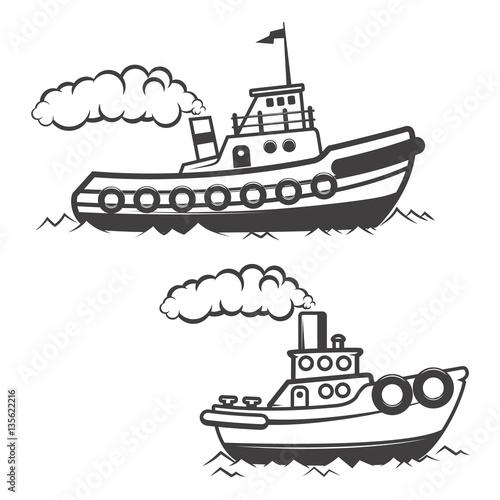 Set of tugboat illustration isolated on white background. Boat i
