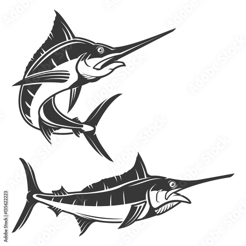 Set of swordfish illustration isolated on white background. Desi Wallpaper Mural