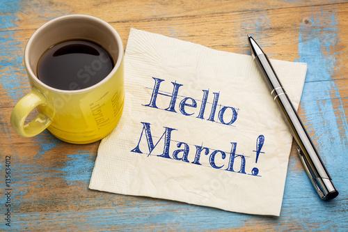 Obraz na plátně Hello March on napkin
