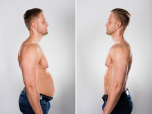 Young Man Before And After Loosing Fat