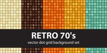"Polka Dot Pattern Set ""Retro 70's"". Vector Seamless Backgrounds"