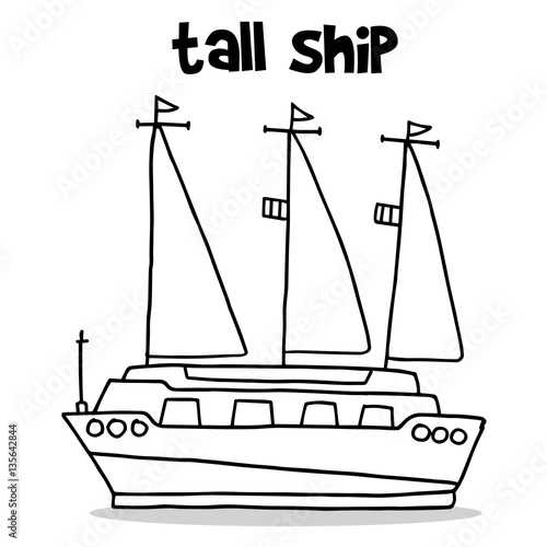 Transport of tall ship hand draw Poster