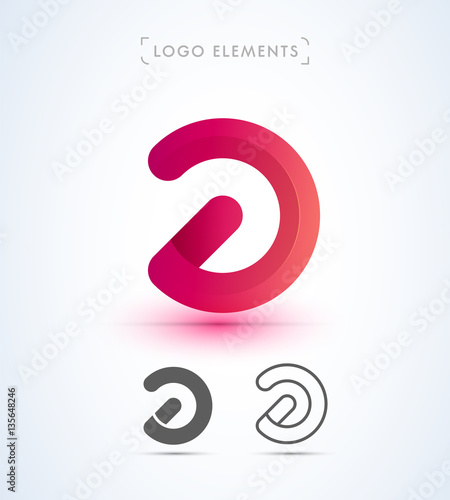 abstract logo elements can be used as letter d or switch off icon