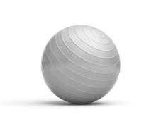 Rendering Of Grey Ridged Exercise Ball Isolated On White Background.