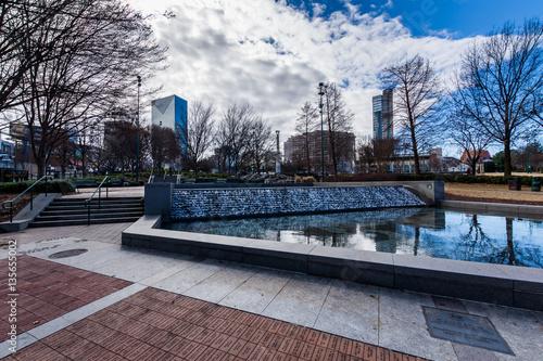 Plakat Centennial Olympic Park z Skyline w Atlancie w stanie Georgia