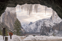 Icicles Hanging From The Tunnel At The Entrance To Yosemite Valley After A Winter Storm