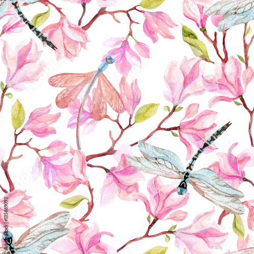 Cotton fabric watercolor magnolia branches and dragonfly