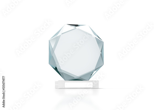 blank round glass trophy mockup 3d rendering empty acrylic award
