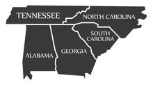 Tennessee - North Carolina - Alabama - Georgia - South Carolina Map Labelled Black