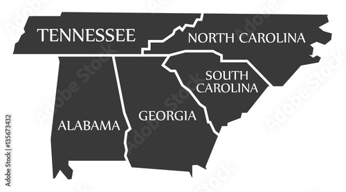 Tennessee - North Carolina - Alabama - Georgia - South Carolina Map ...