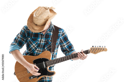 Photo  blues or country guitarist isolated on white