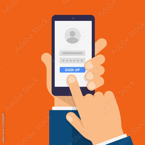 Cuadros en Lienzo Sign Up on smartphone screen