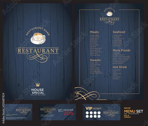 Creative menu design. Layout design, Design set for menu restaurant. Wall mural