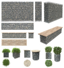 Gabion - Stones In Wire Mesh. Wall, Bench, Flower Pots With Plants Of The Rocks And Metal Grates. Isolated On White Background. Front View, Side View, Top View. Garden Elements For Landscape.