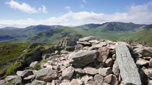 Views Of The Summits Of Helvellyn, Striding Edge, Catstycam And Birkhouse Moor In The English Lake District, UK