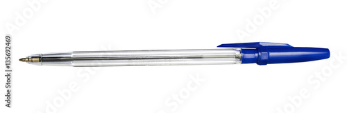 Leinwand Poster Isolated ballpoint pen with blue cap  on white background