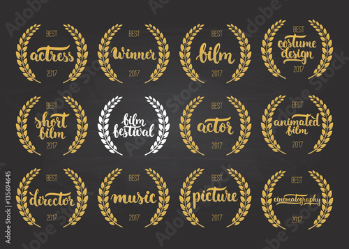 Valokuva  Set of awards for best film, actor, picture, animated, costume design, actress,
