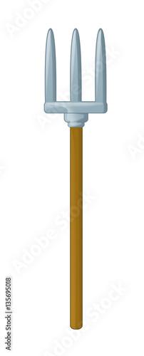 Fotografia, Obraz Cartoon pitchfork isolated - illustration for children