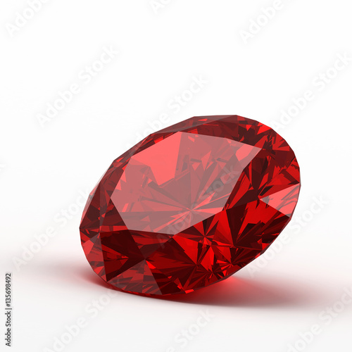 Fotografía  Ruby isolated on white background, 3d illustration.