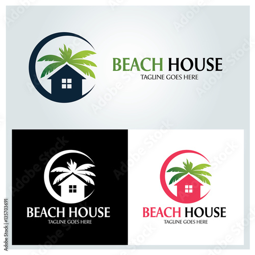 Beach House Logo Design Template Vector Ilration