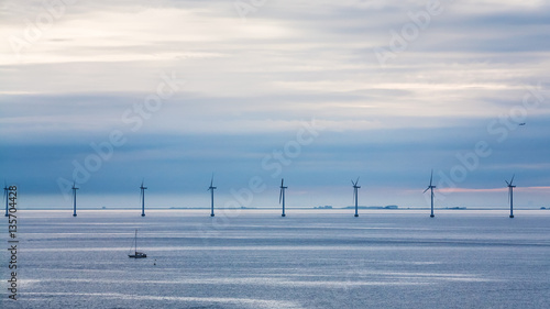 view of Baltic Sea with offshore wind farm Wallpaper Mural