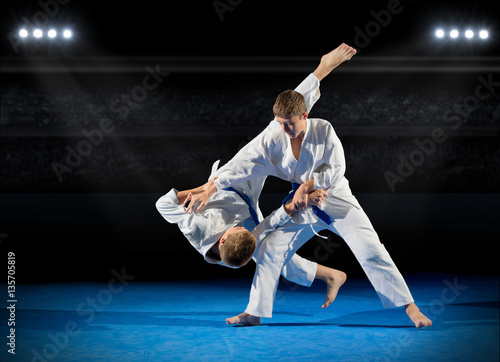 Tuinposter Vechtsport Boys martial arts fighters