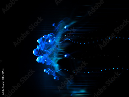 Photo sur Aluminium Fractal waves Computer graphics abstract background. Magical composition of blue smoke traces over black