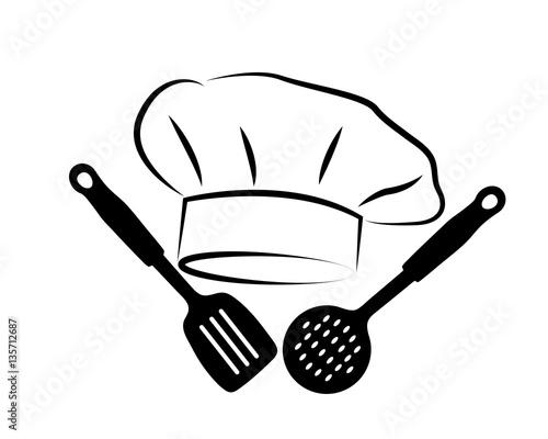 logo con cappello da chef e utensili da cucina – kaufen Sie ...