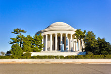 View Of The Southern-side Of The Shallow Domed Roof & Circular Ionic Colonnade Of The Thomas Jefferson Memorial In West Potomac Park, Washington DC