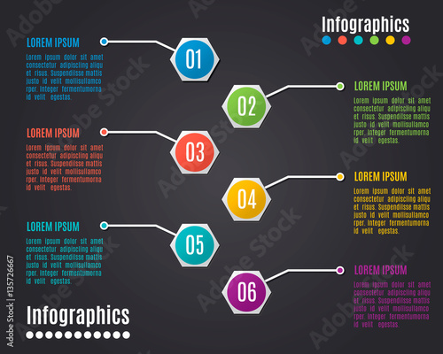 Staande foto Hoogte schaal Vector colorful info graphics