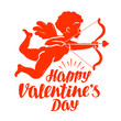 Happy Valentine's Day, greeting card. Flying angel or cupid with bow and arrow. Vector illustration