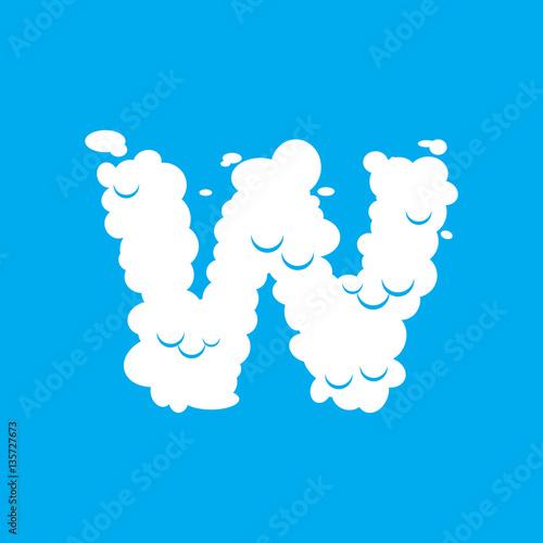 Staande foto Kids Letter W cloud font symbol. White Alphabet sign on blue sky