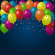 Colorful holiday background with balloons and confetti