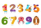 Fototapeta Fototapety na ścianę do pokoju dziecięcego - Set of cartoon animal numbers in flat style design. Collection o