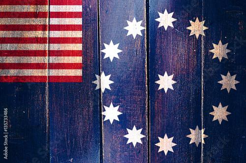 Fotografie, Obraz  Vintage Easton flag on grunge wooden panel