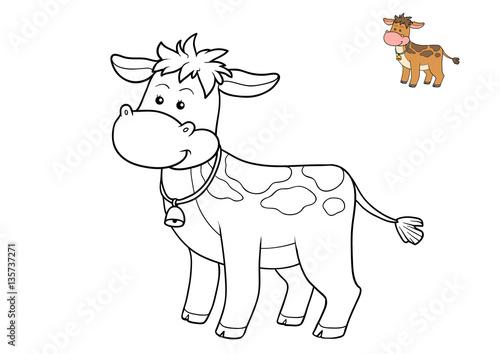 Tuinposter Doe het zelf Coloring book, Cow