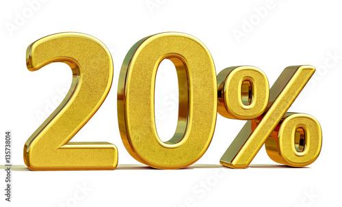Fotomural 3d Gold 20 Twenty Percent Discount Sign