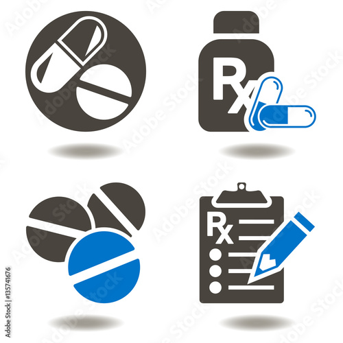 Photo  Drug pill bottle RX clipboard vector icon set