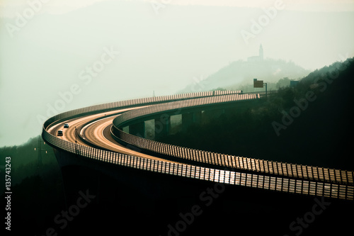 Open highway at sunset , old Polaroid saturation