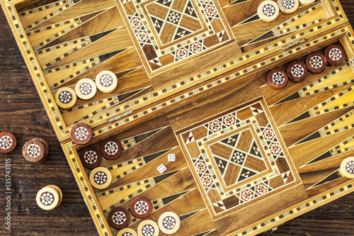 Fototapeta Backgammon game with two dice