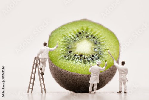 Painters coloring kiwi. Macro photo