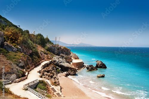 Beautiful view of Rhodes sandy beaches, Greece