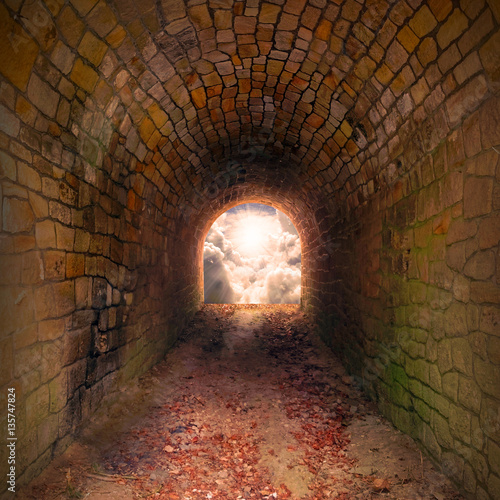 Papiers peints Tunnel Light at end of the tunnel. Way to freedom or to heaven. Opened door from underground or grave. Hope metaphor.