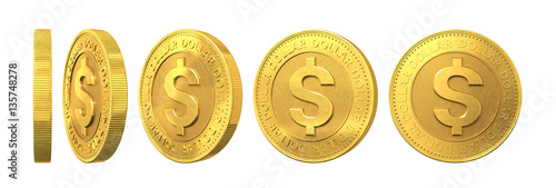 Fotografie, Obraz  Set of gold coins with dollar sign isolated on a white backgroun