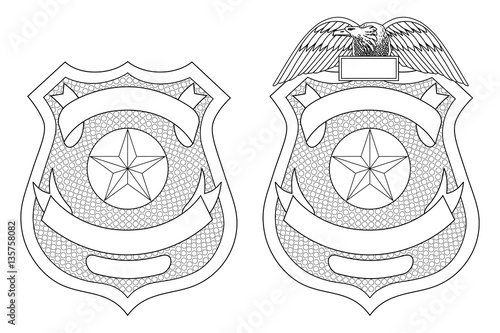 Fototapeta  Police Law Enforcement Badge or Shield is an illustration of a police or law enforcement badge with and without the eagle on top