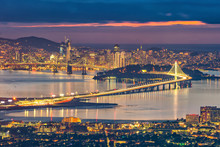 San Francisco Skyline And Bay Bridge At Sunset