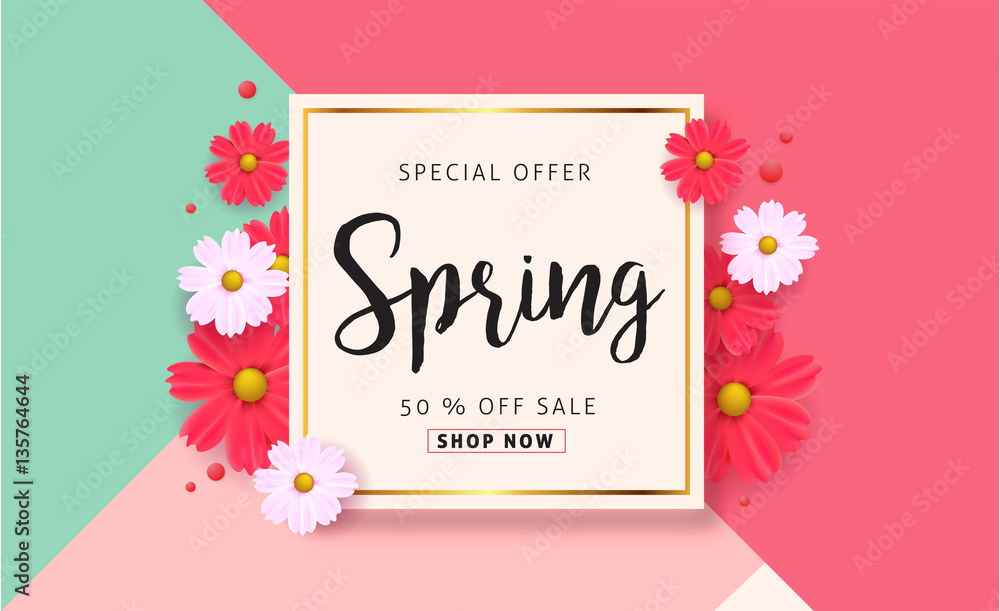 Fototapety, obrazy: Spring sale background with beautiful colorful flower. Vector illustration.banners.Wallpaper.flyers, invitation, posters, brochure, voucher discount.