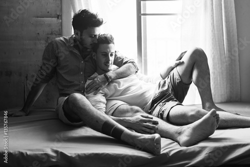 Gay Couple Love Home Concept Canvas Print